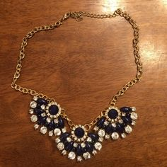 Navy and Crystal Statement Necklace *Not Lilly Pulitzer but looks so pretty with her pieces!* Purchased from local boutique. Only worn a few times! Adjustable in length. Lilly Pulitzer Jewelry Necklaces