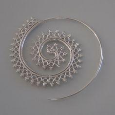 Silver Earrings  Spiral Earrings  Gypsy Earrings  by RONIBIZA