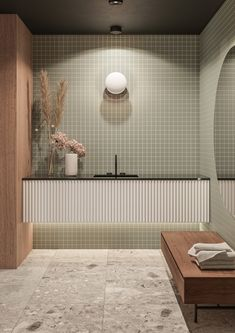 F-House on Behance Bathroom Toilets, Laundry In Bathroom, Bathroom Renos, Green Bathroom Tiles, Bathroom Ideas, Green Bathrooms, Remodled Bathrooms, Colorful Bathroom, Modern Bathroom Tile