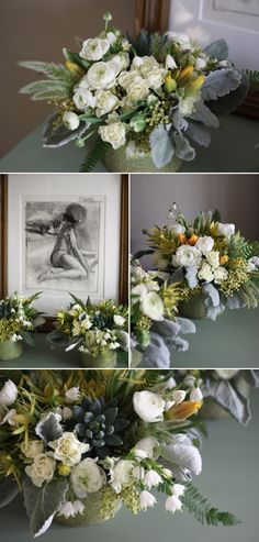 Mckenzie Powell Designs white ranunculus centerpieces