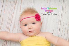 Shocking Pink Shabby Chiffon Flower Rose Headband Elastic Baby Girl Photo Prop - pinned by pin4etsy.com