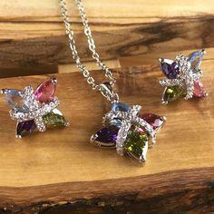 Exotic Amethyst, Olivine, Aquamarine, Tourmaline Zircon Pendant Necklace and Pierced Earrings Set LA N2071. Starting at $1