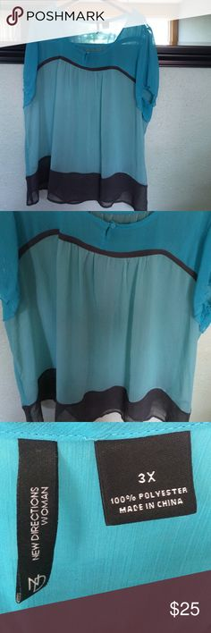 ND blouse Adorable sheer blouse by new directions woman. Two tones of blue with gray mixed in. Short sleeves. Very light weight and adorable! Arm pit to arm pit 29 new directions Tops