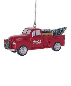 Coke fans and collectors, pay heed! Check out this amazing Coca-Cola Truck Resin Ornament featuring a red truck with a Christmas tree in the back and a wreath on the front. It's made of resin, measures about 1 tall, and hangs from a gold string. Merry Christmas, Glass Christmas Tree Ornaments, Cola Truck, Trucks, Transformers, Resin, Pay Heed, Family Halloween, Marvel Avengers