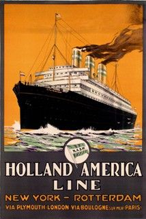 Holland - America Line - New York - Rotterdam - via Plymouth (London) via Boulogne sur Mer (Paris) - 1929 - illustration : A. Rotterdam, Holland America Line, Tourism Poster, Poster Ads, American Line, Travel Ads, Old Advertisements, Vintage Travel Posters, Oeuvre D'art