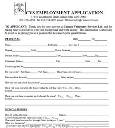 picture about Printable Job Application Pdf named Cvs Printable Computer software Pdf