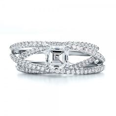 Custom Pave Diamond Multi-Band Engagement Ring - Top View