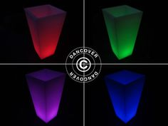Funky fun LED flower pot with multiple colours and remote controlled functions. Flower Vases, Flower Pots, Flowers, Can Lights, Save Energy, Cubes, Light Up, Balls, Indoor