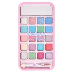 This compact make up is as cute as a kitty. The bedazzled pink case is decorated with cats. The smartphone design features glitter eyeshadows, lip glosses and pastel eyeshadows. Little Girl Makeup Kit, Makeup Kit For Kids, Kids Makeup, Claire's Makeup, Makeup Items, Diy Doll School Supplies, Hello Kitty Toaster, Popular Candy, Baby Doll Nursery
