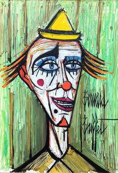 Bernard Buffet Clown, huile sur isorel, signée, 55 x 38 cm. Clown Paintings, Illustrator, Art Français, Drawing Portraits, Drawings, Pierrot, Edvard Munch, Pencil Portrait, French Art