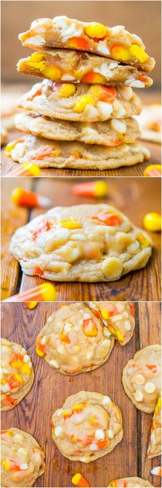 Candy Corn and White Chocolate Softbatch Cookies Recipe ~ An abundance of candy corn and white chocolate chips add texture and an extra pop of sweetness to these softbatch-style cookies. They're so soft, buttery, tender, and just melt in your mouth.