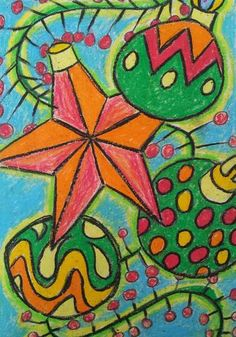 dreampainters: Christmas Decorations: Oil Pastel & Baby Oil