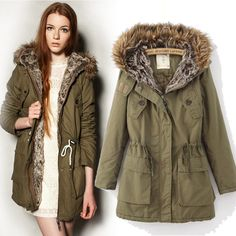 Womens Army Green Real Fur Collar Long Jacket Coat Parka Padded ...