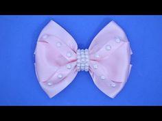 Passo a passo:Laço de fita de cetim decorado com meia pérolas/DIY - YouTube