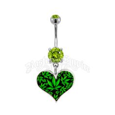"""This marijuana leaf navel ring features a dangle heart with a collage of marijuana leaves. This navel ring is 14 Gauge, size 3/8"""", 316L surgical steel."""