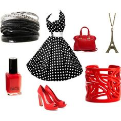 black and white polka dots with red accents