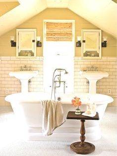 ideas fancy french country small bathroom with freestanding bathtubs including brushed nickel clawfoot tub faucet alongside white porcelain pedestal sink also mirror door medicine cabinet
