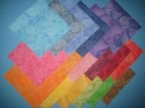 36 RAINBOW JAZZ CHARM FABRICS QUARES  QUILT SQUARES - 18 COLORS SEWING CHARM FABRIC FREE STUFF