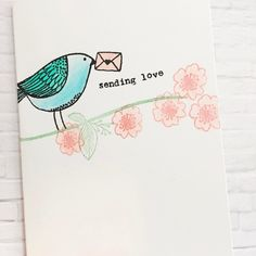 Sending love with our new Aviary Love set! #florafaunaclear #cardmaking #creative #aviary #clearstamps #handmadecards #crafts #papercraft