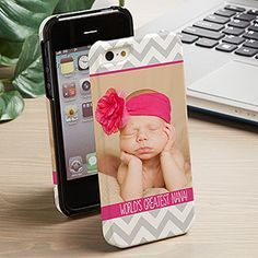 LOVE this personalized cell phone case! The chevron is so pretty and I love that you can add your own photo, colors and words!