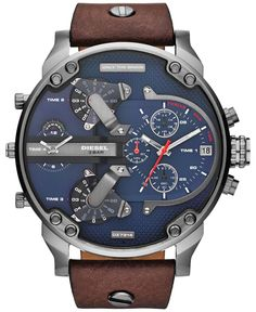 Buy your Diesel Mr.Daddy NOW at MYRwatches! All Diesel watches at the best prices. Amazing Watches, Cool Watches, Men's Watches, Wrist Watches, Diesel Watches For Men, Herren Chronograph, Brown Leather Strap Watch, Casual Watches, Stylish Watches