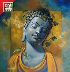 Gautama Buddha by artist Sanjay Lokhande Budha Painting, Ganesha Painting, Peace Painting, Religious Paintings, Indian Art Paintings, Buddha Images Paintings, Paintings Online, Spiritual Paintings, Religious Art
