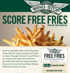 WingStop: Free Fries Printable Coupon http://www.pinterest.com/MiaCoupons/wingstop-coupons/