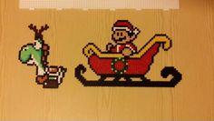Hama beads Super Mario santa & Yoshi reindeer.