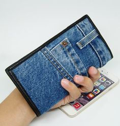 Obsessed With Authentic Designer Handbags Jean Purses, Denim Handbags, Recycle Jeans, Jeans Denim, Photo Holders, Denim Fabric, Zipper Pouch, Designer Handbags, Coin Purse