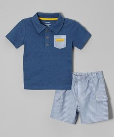 Love this Indigo Contrast Pocket Polo & Shorts - Infant by Calvin Klein Jeans on #zulily! #zulilyfinds
