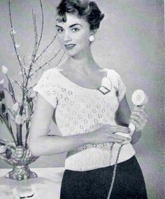 Summer Lace Jumper Vintage Knitting Pattern pdf 1950s Cap Sleeve. via Etsy.