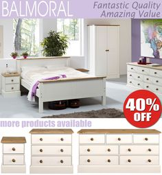 Balmoral White Bedroom Furniture, Bedside Table, Chest of Drawers, Wardrobe