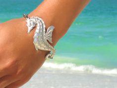 Seahorse Bracelet Beach Bracelet Seahorse Jewelry Nautical Bracelet Statement Jewelry Statement Wedding Boho Bohemian Bracelet Gift for Her by laromantica on Etsy https://www.etsy.com/listing/102049082/seahorse-bracelet-beach-bracelet
