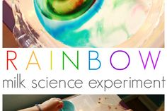 Rainbow Milk Science Experiment - Trying it on the light table