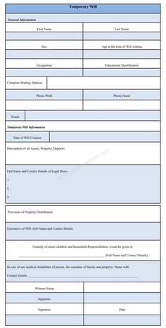 You Can Download The Temporary Will Form Template It Is An Easy To Customize Format