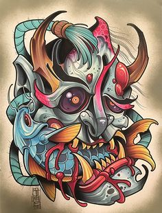 Browse all products in the Original Art category from Battle Damage. Hannya Tattoo, Mask Tattoo, Tattoo Drawings, Body Art Tattoos, Art Drawings, Japanese Tattoo Art, Japanese Art, Tatoo Designs, Graffiti Drawing