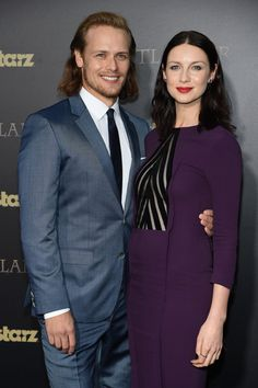 Pin for Later: The Outlander Stars Are Just as Hot in Real Life  Sam wrapped his arm around Caitriona.