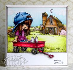 Wagon and Farm Background (Mo's Dream Team) Mo Manning, Make Blog, Embossed Cards, Penny Black, Copics, Dream Team, Kids Cards, Hello Everyone, Cardmaking