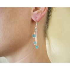Chandelier earrings with blue glass and sterling silver ear wire (€12) via Polyvore featuring jewelry and earrings