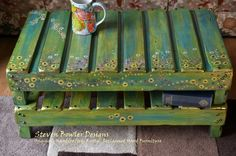 Original, Rustic Sunflower and Country Cottage Flowers Handcrafted Coffee Table