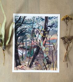 This is an archival print of an original acrylic and gouache painting.  Woods and marsh in Kennebunkport, ME. All of my prints are used with