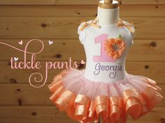 Georgia Peach Birthday Tutu Outfit- Inlcudes top, ribbon tutu - Can be made with different colors to match party theme by TicklePants on Etsy https://www.etsy.com/listing/130303460/georgia-peach-birthday-tutu-outfit