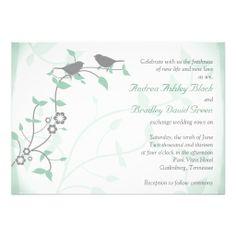 Mint Green Grey Birds Wedding Invitation
