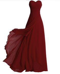 Fashion Plaza chiffon ohne Träger langer Abendkleid Modul D072 (EU36, dunkel rot)