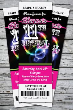 GLOW in the DARK Neon Birthday Party Invitation TICKET Stub Any Age or Color - You Print - 24 hour turnaround. $13.99, via Etsy.