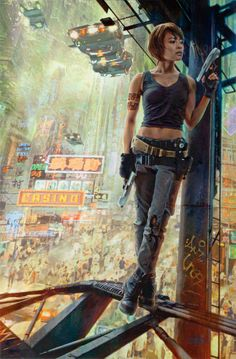 Digital art by Dave Seeley via Sci-fi city.  More Characters here.
