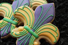 Mardi Gras Cookies, Fleur De Lis, New Orleans Cookies, Wedding Cookie Favors, Mardi Gras sugar Cookies Birthday Cookies Anniversary Cookies