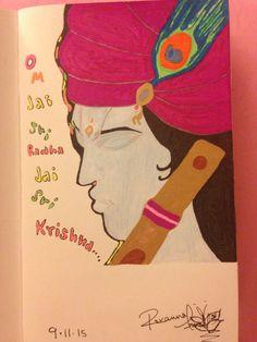 Jai Sri Radha Krishna  Ink pen on card stock By: Roxanna Arnett  Year: 2015
