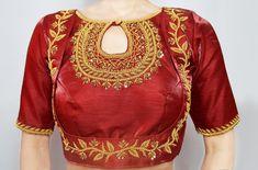 Indian Blouse, Indian Sarees, Zardosi Embroidery, Hand Embroidery, Red Blouses, Blouses For Women, Gold Blouse, Lehenga Blouse, Bustier Top
