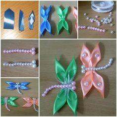 DIY Kanzashi Satin Ribbon Dragonfly | iCreativeIdeas.com LIKE Us on Facebook ==> https://www.facebook.com/icreativeideas